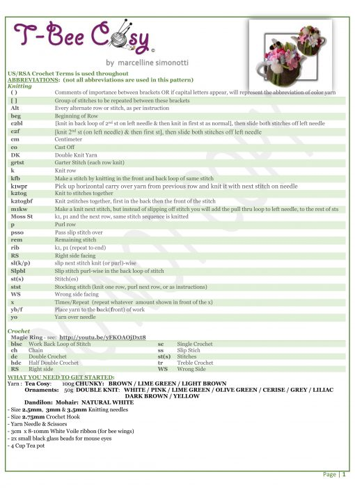 Cosmos dandelion and mouse info sheet