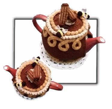 Chocolate cake tea cosy image