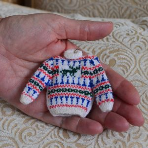 1/12th scale Miniature Stag Jumper Knitting pattern