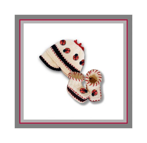 Ladybug booties and cap logo