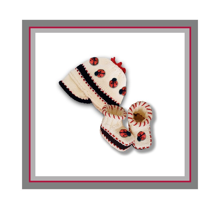 Ladybug booties and cap logo