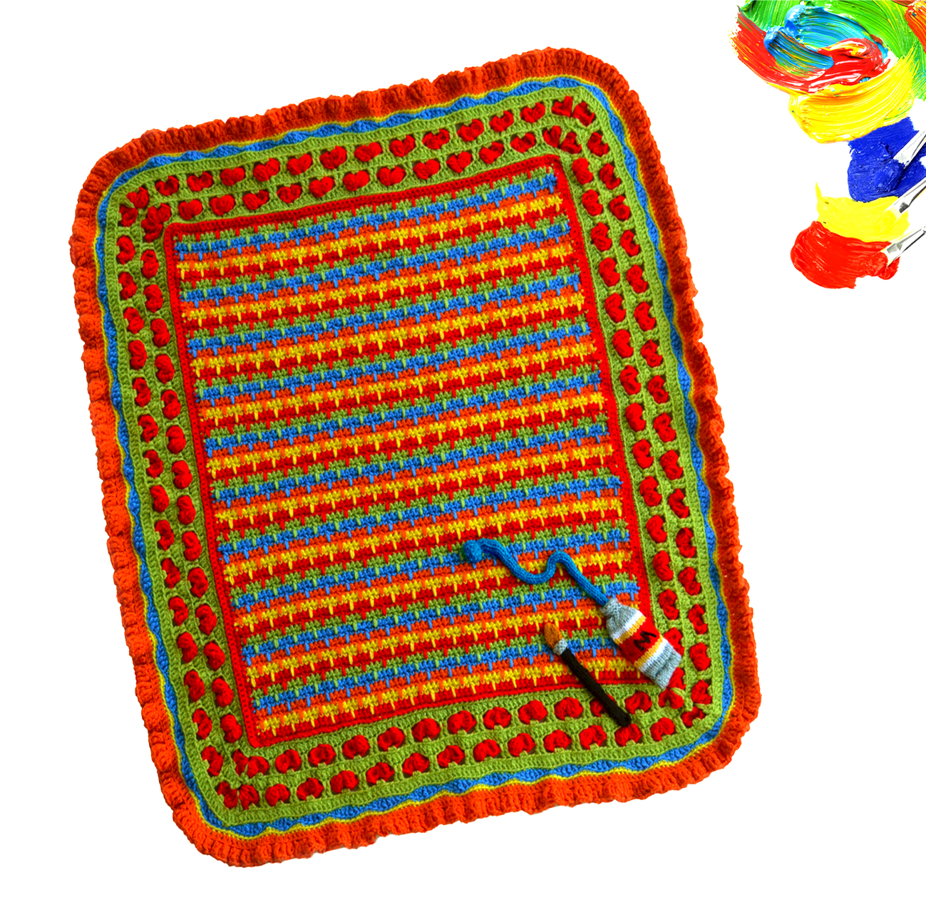 Paint Box baby blanket pattern