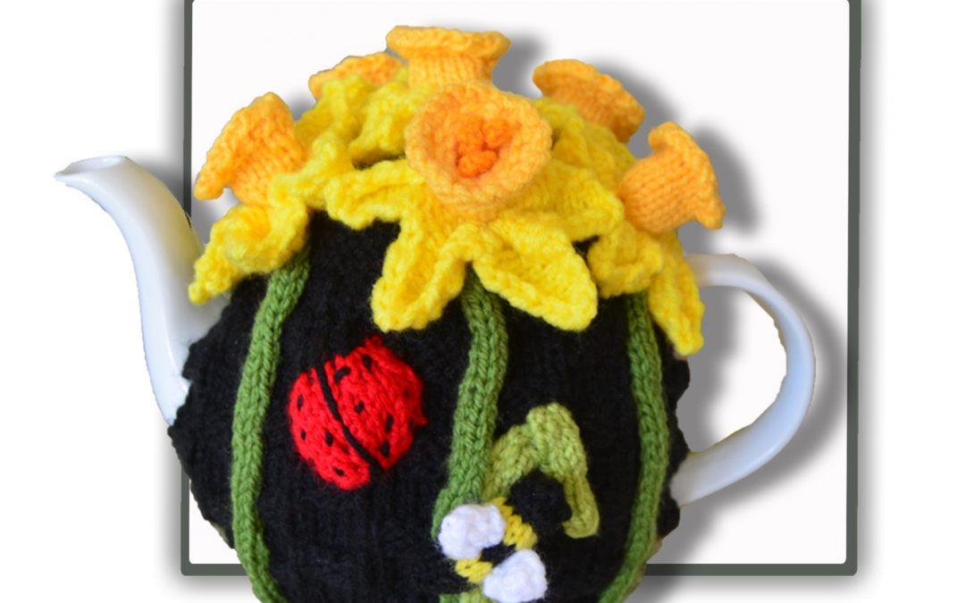 Daffodil Tea Cozy with Ladybug and Honey Bee