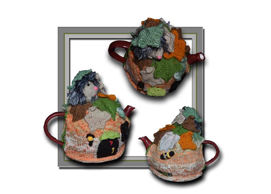 autumn hedgehog tea cosy