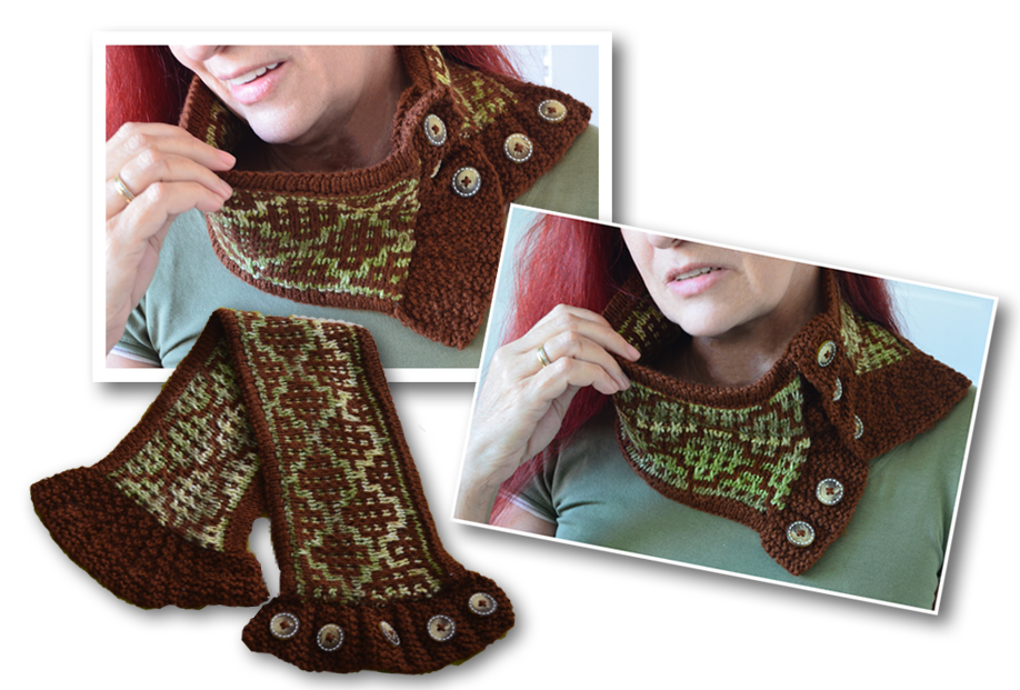 Wasabi Reversable Knitted Cowl / Scarf / Shawl