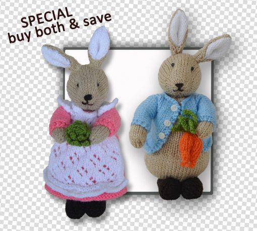 Beatrix Flufftail & Peter Bunny Rabbit Patterns together