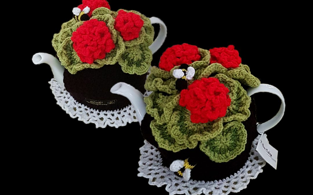 Geraniums Tea Cosy that never need watering, so life-like