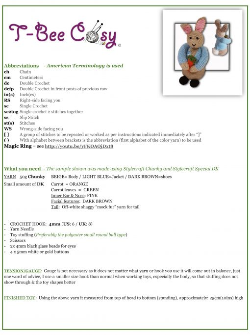 Peter Bunny Rabbit Crochet Toy Pattern Infor Sheet