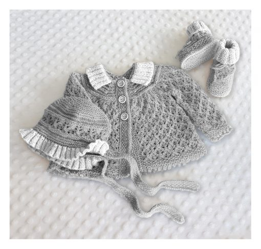 angel lace baby set grey and white