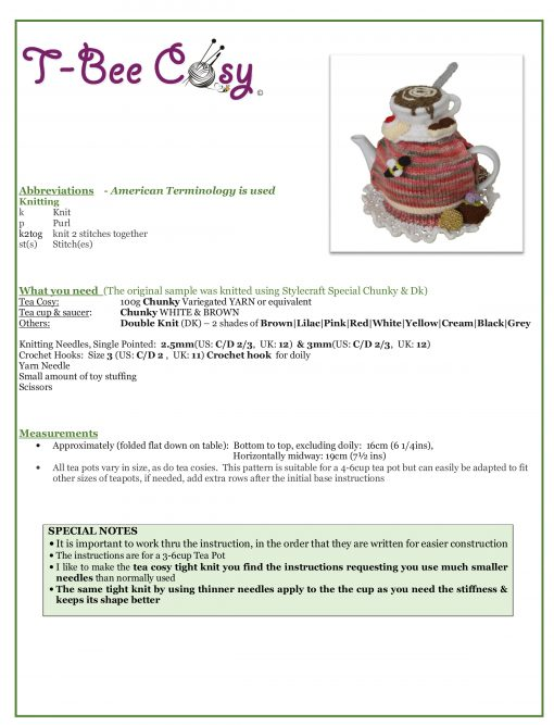 Tea and Biscuits Tea Cosy info sheet