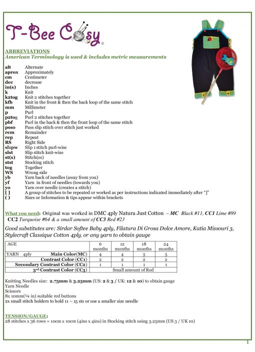 Lets Play Dungaree and fish Info Sheet