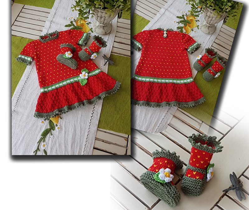 Strawberry Field little Girls dress with matching booties