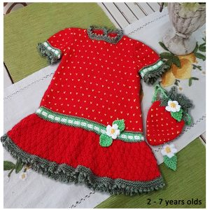 Strawberry Dress and Purse for 2 to 7 years
