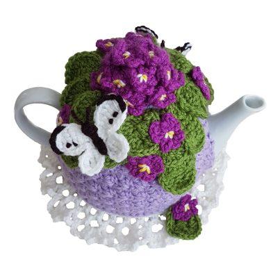 Violet posy tea cosy