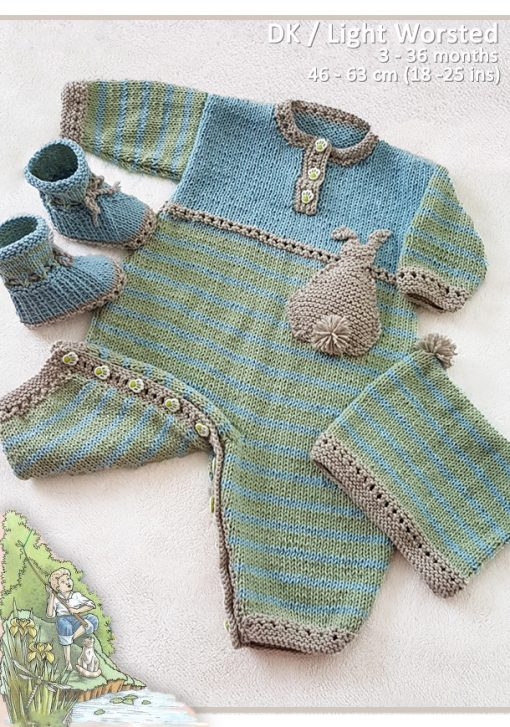 BunnyKids Playsuit beanie and booties