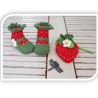 Strawberry booties and pouch