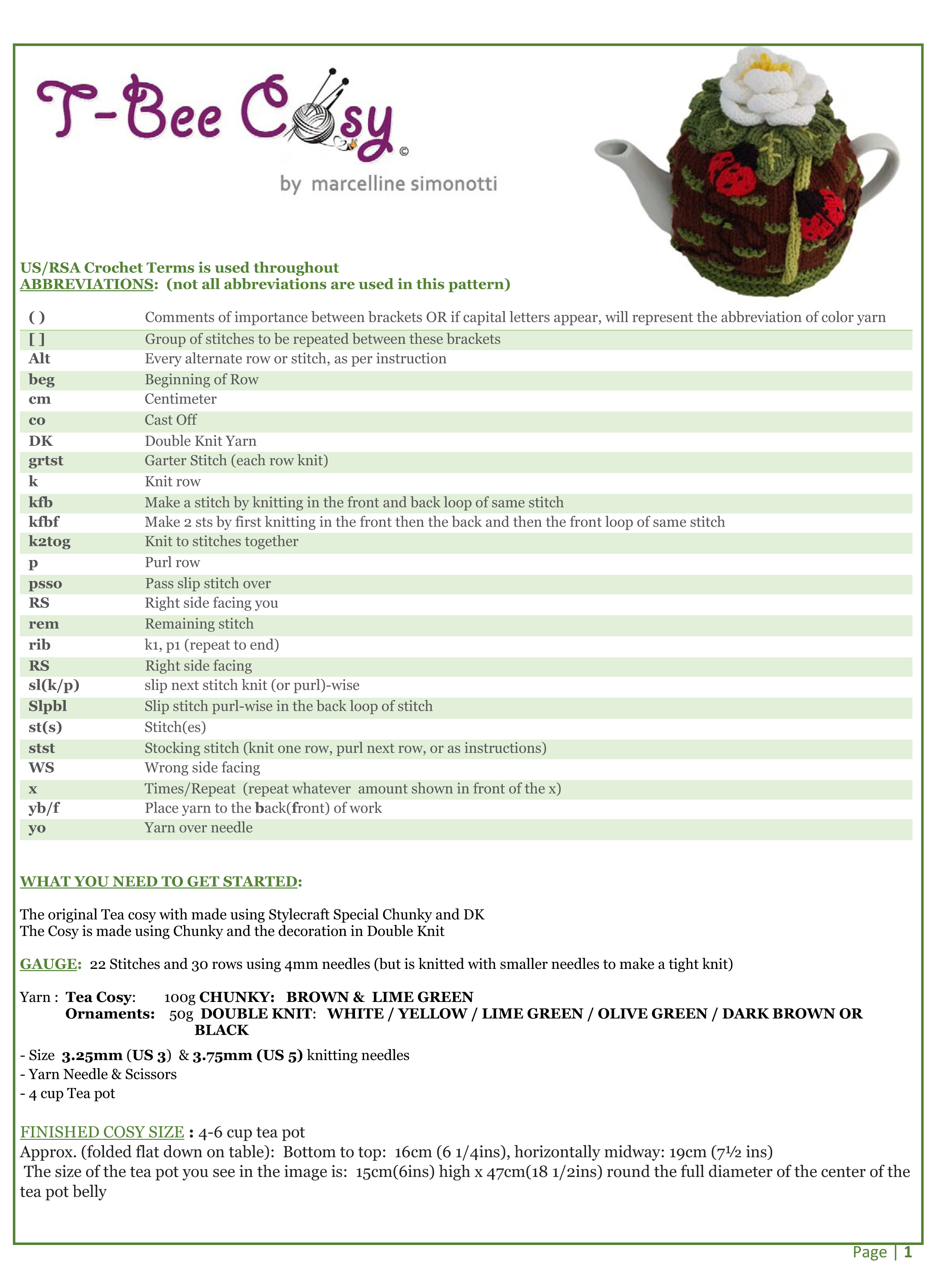 classic white rose tea cosy INFO SHEET