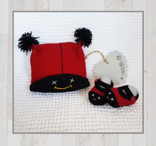 Ladybug Baby Booties and Beanie Cap (0 - 12 months)