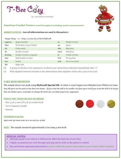 Gingerbread doll crochet pattern