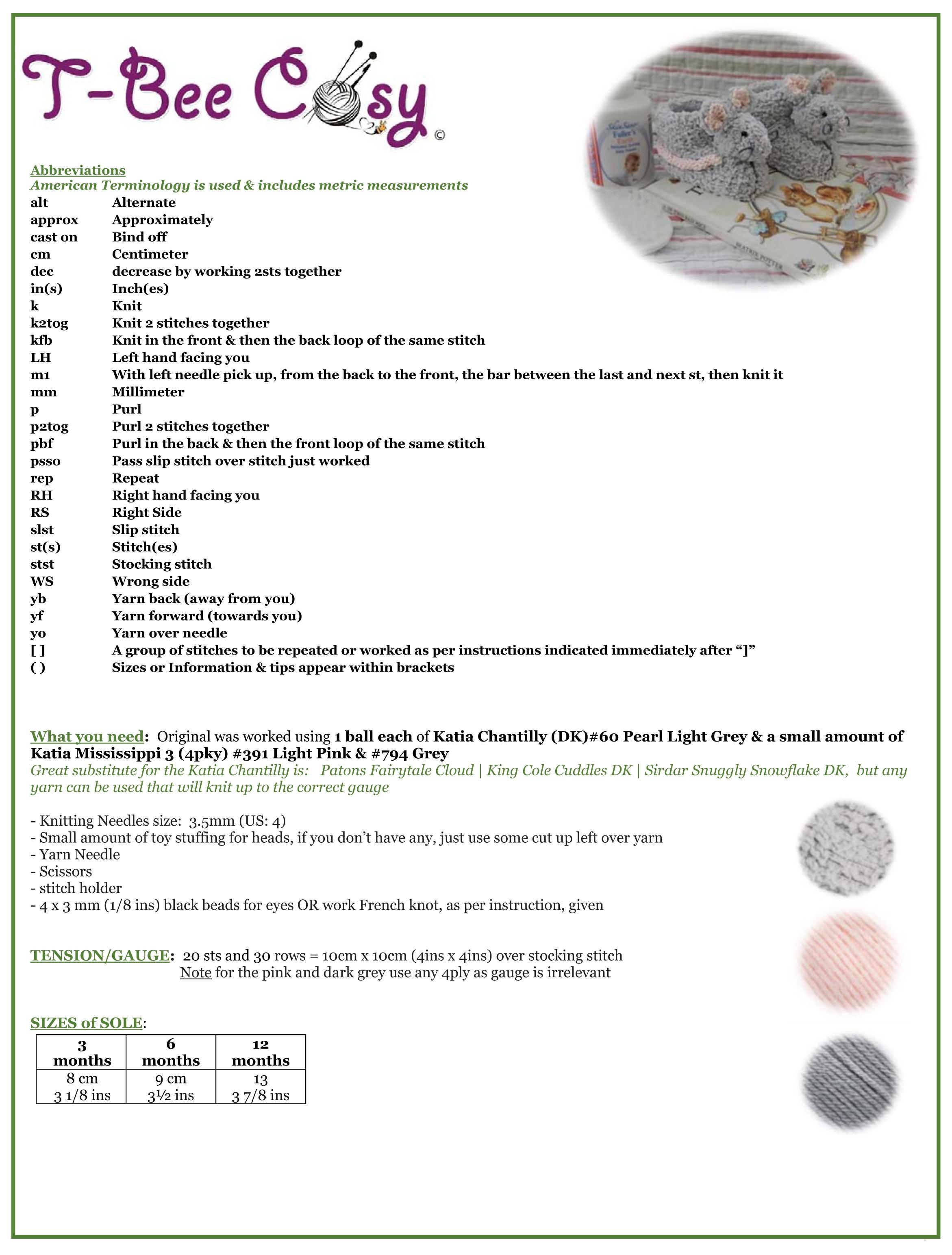 Sebastian-Bunnykids-Mouse Booties info sheet
