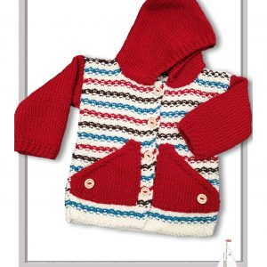 ARAN/CHUNKY/Bulky  – At The Fair Cardigan Hoodie (3 to 12 month)