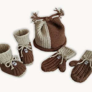 Whoo-Whoo Booties, Cap and Mittens (0-9 months)  – KNITTING –