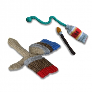 Knitted Paint Brushes and Tube of Paint toy