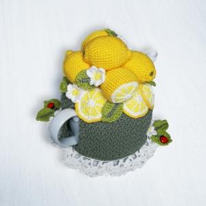 Lemon Tea Cosy – 4-Cup – CROCHET