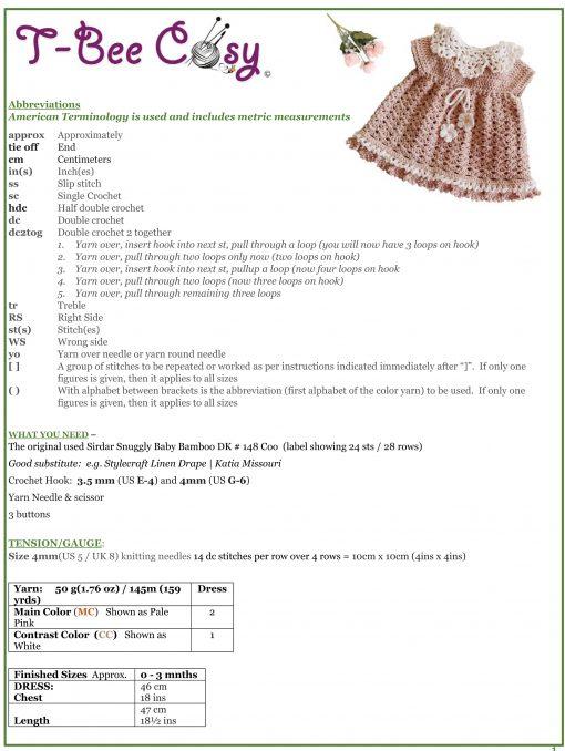 Little Angel Baby Dress info sheet