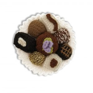 Chocolates Anyone, a plate of chocolates single pointed needles – DK yarn