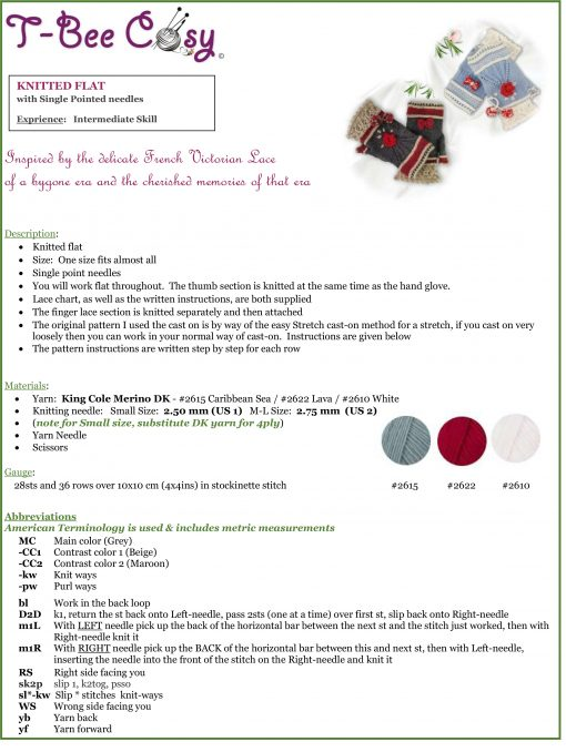 Victorian Lacy Gloves INFO SHEET