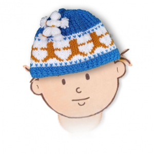 Knitted Flat in CHUNKY / BULKY yarn – Dancing Bear Beanie Cap for kids up to 6 years
