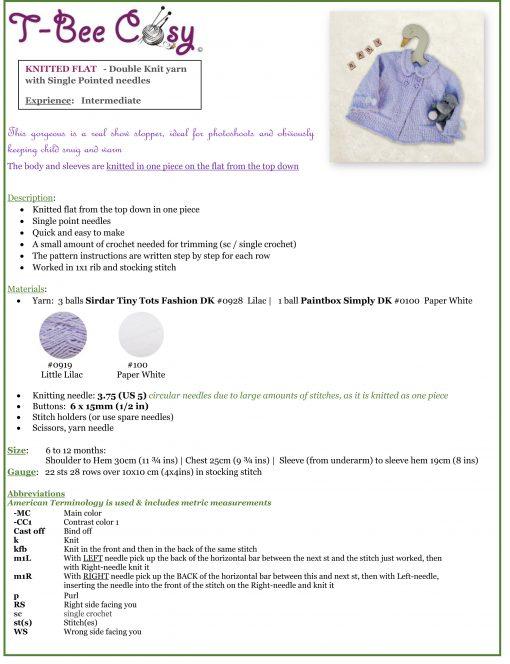 unnykids Knitted Coat info sheet