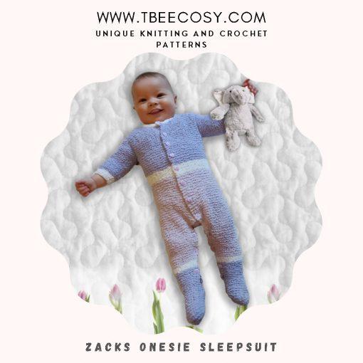 Zacks Onesie Playsuit for 0 to 3 year olds in DK yarn